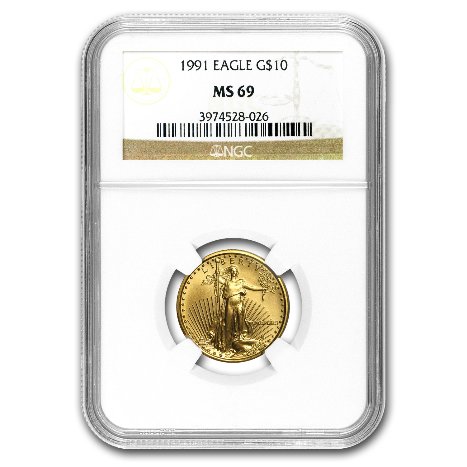 1991 1/4 oz Gold American Eagle MS-69 NGC